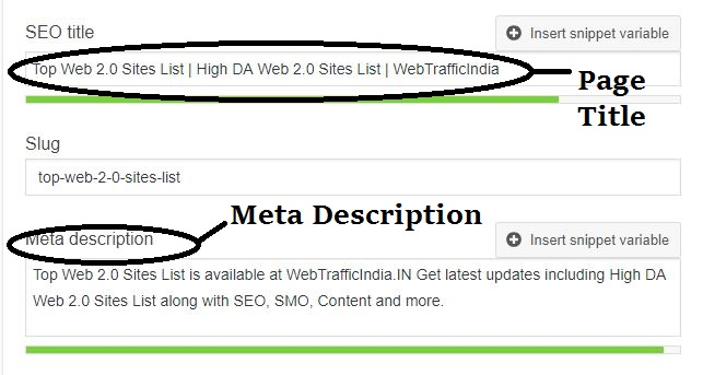 Page Title and Meta Description